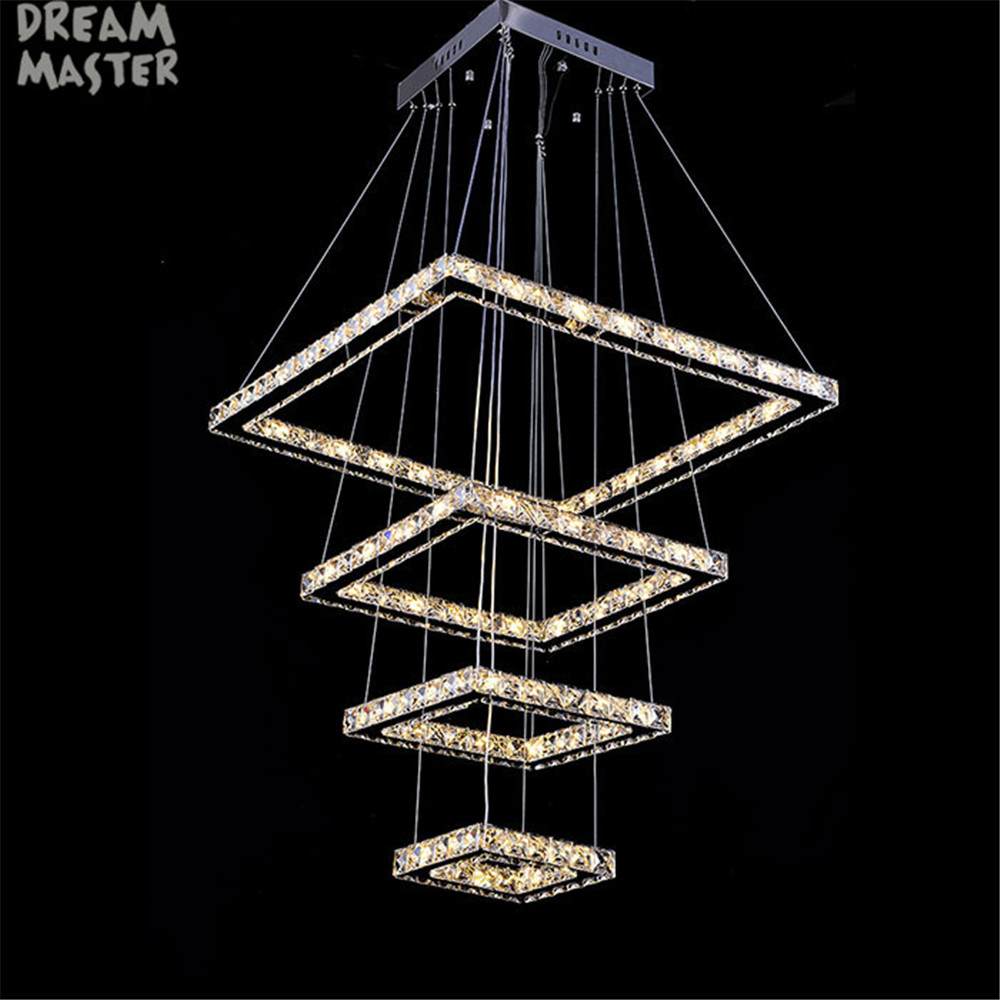 2017 New 4 Squares 138W Led Crystal Chandelier Lighting Large Chandeliers Modern LED Lamp Lustres De