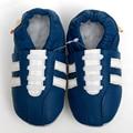 Bebé del cuero genuino de los mocasines casuales zapatos de bebé azul Boy zapatillas niño antideslizante primeros caminante zapatos de los niños calzado