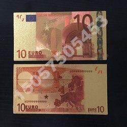 1 sztuk kolor Euro zestawy banknotów 5 10 20 50 100 200 500 EUR złote banknoty 24K złota folia pamiątkowa moneta ozdoby do domu banknoty