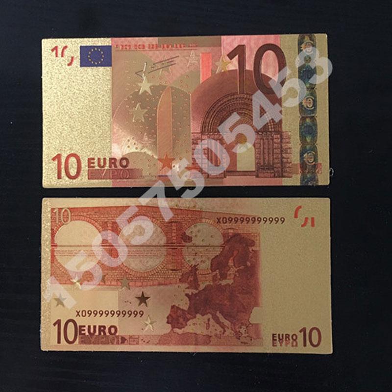 1pcs Color Euro Banknote Sets 5 10 20 50 100 200 500 EUR Gold Banknotes 24K Gold foil commemorative coin home decro banknotes