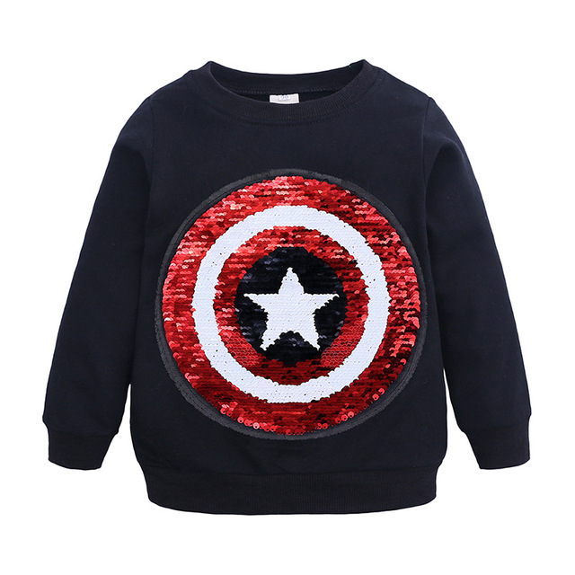 Spiderman Face-changing Captain America Boys Sweatshirts for Kids 3