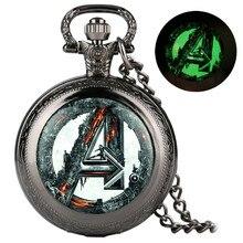Ретро крутые светящиеся кварцевые карманные часы в стиле Мстителей винтажное ожерелье брелок старомодные Мужские Женские часы с подвеской