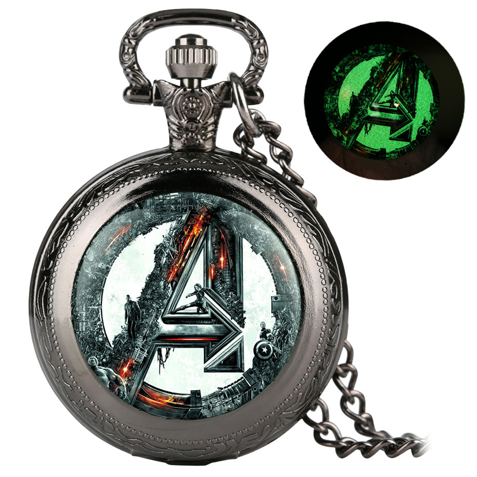 Retro Cool Luminous Avengers Theme Quartz Pocket Watch Vintage Necklace Fob Chain Old Fashioned Men Women Pendant Watches 2019