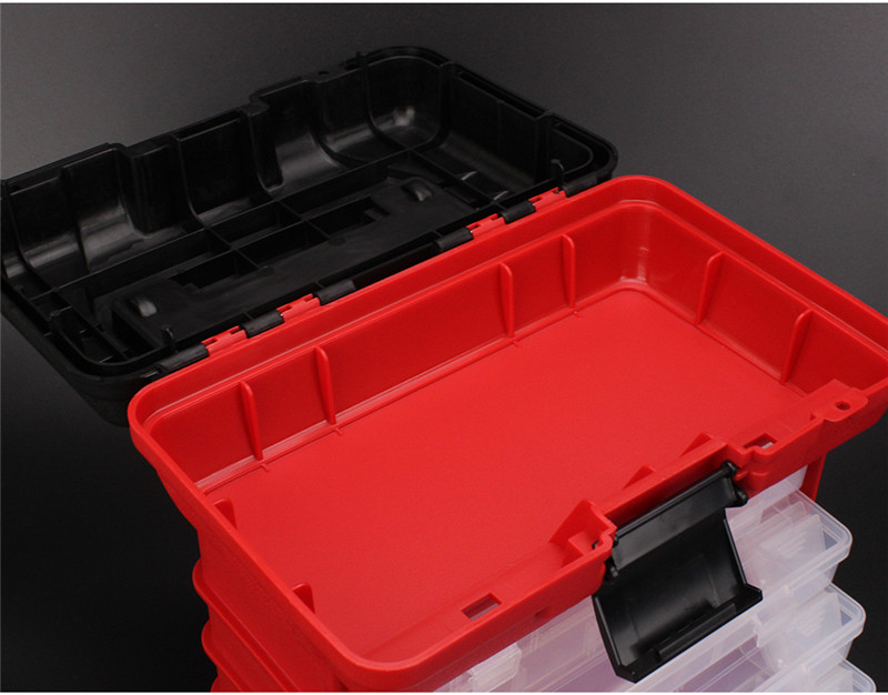 New 4 Layers Fishing Tackle Box Strong ABS Plastic Fishing Tools Container Big Fishing Accessories Box 27x17x26cm 4 Colors (22)