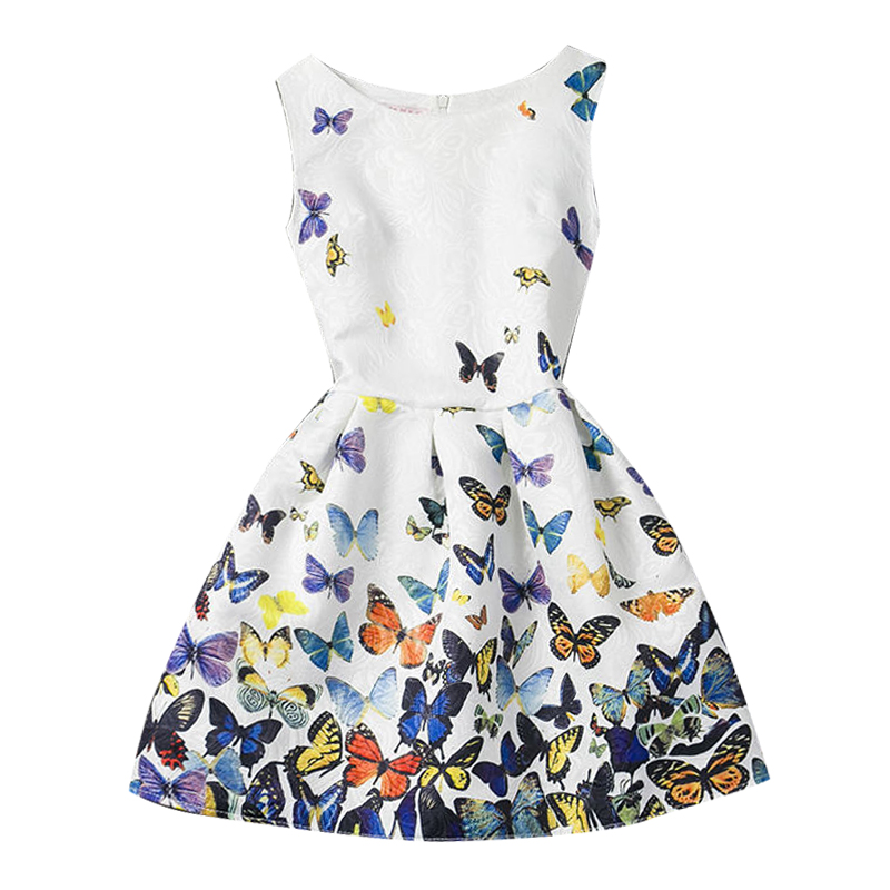 Summer Butterfly Print Girl Dress A-Line Sleeveless Casual Clothing Children Girls Kids Clothes School Party Dresses Slim Fit