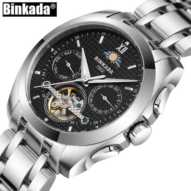 все цены на Men High Quality Skeleton Mechanical Watch Original New Fashion Luxury Brand BINKADA Men Moon Phase Automatic Watches онлайн