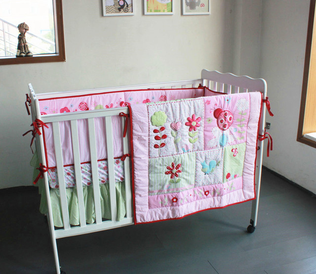 Promotion! 4pcs embroidered Baby Bedding Set Baby cradle crib cot bedding set cunas ,include(bumper+duvet+bed cover+bed skirt)