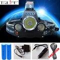 3 Lâmpada de Cabeça LED Farol 10000 Lumens Cree XM-L T6 High Power LED Farol + 2 pcs 18650 Bateria + carregador + carregador de carro