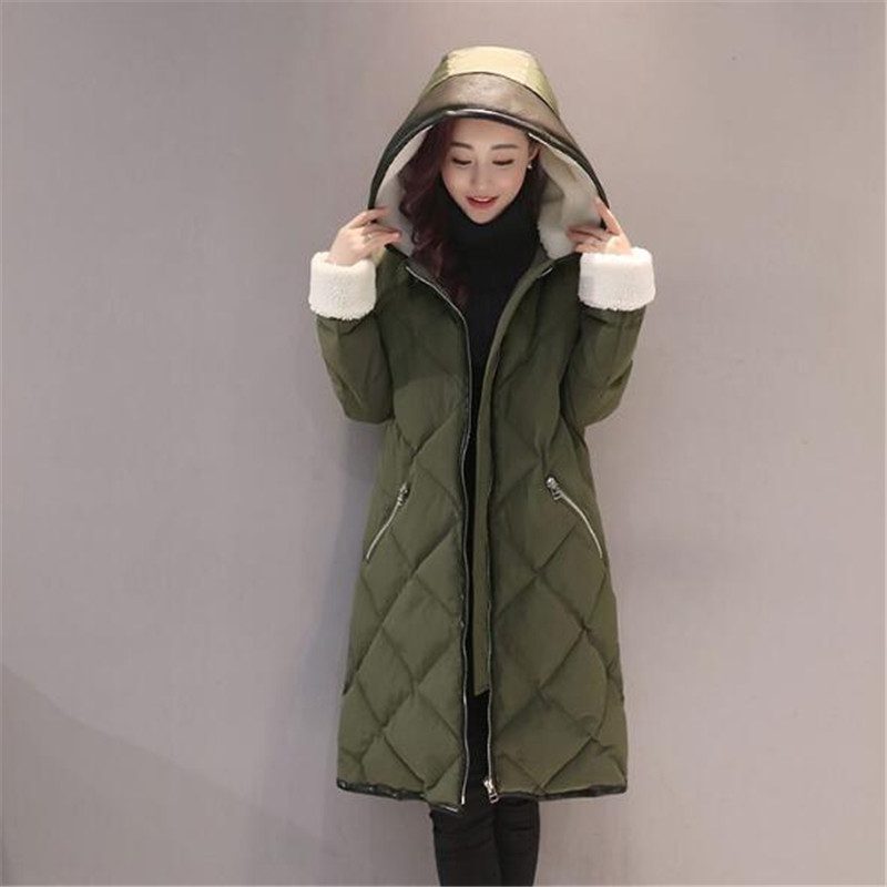 Warm Hooded Thick Loose Large Size Padded Coat Parka Femme Solid Color Casual Winter Jacket Wadded Manteaux Femme TT3456 fashion warm lambswool hooded thick cotton parka padded manteau femme hiver casual solid color wadded winter jacket tt3349