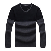 Sudaderas Real Fashion Full 2017 Autumn Men's New V necked Undershirt Solid Color Youth Shirt Sweater Transparent Ultra Boy