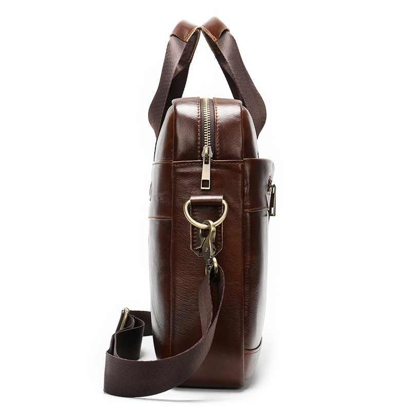 MVA pasta dos homens/Couro genuíno saco do mensageiro dos homens de couro/pastas de negócios laptop macho sacos de escritório para os homens saco dos homens 8824