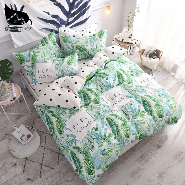 Dream NS 100% Cotton FEEL DOOD Home Bedding Set Green plant Duvet Cover Pillowcase Warm Soft Home Bedroom Living Room Cover