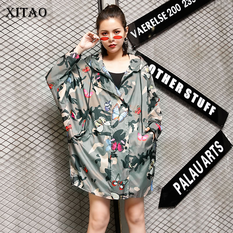 [XITAO]2019 New Europe Casual Loose Full Sleeve Hooded Print Zipper Cardigans   Trench   Fashion Women Summer Long   Trench   LY1094