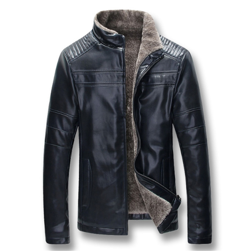 Men Autumn Winter Thick Fleece PU Leather Jackets Coats Hombre Male Casual Fashion Slim Fit Large Size Zip Jackets Men Coat - 3