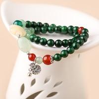 Vintage ethnic wind double Original bracelet jewelry retro xiuyu Dongling jade jewelry fashion ethnic ethnic hand string female