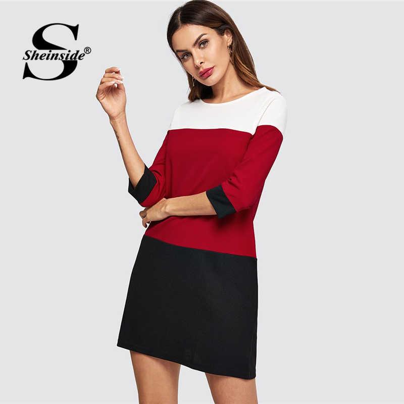 13dcce2550 Sheinside Casual Cut and Sew Tunic Beach Dress Women Autumn Short Party Dresses  Colorblock 3/