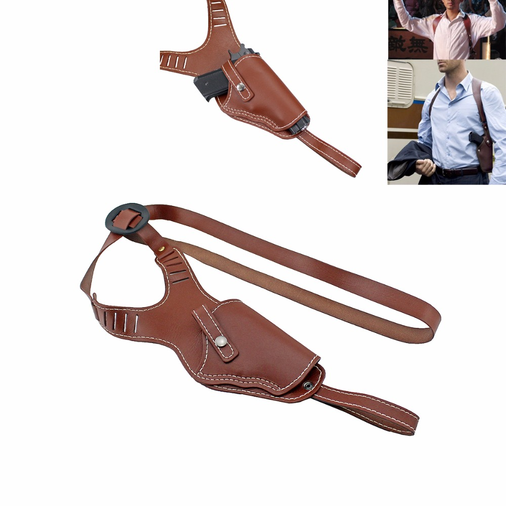Vertical Shoulder Holster Genuine Leather Right Hand Gun Holster Fits Medium Frame Auto Handguns Cowhide Gun Bag