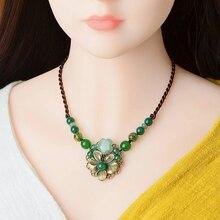 Vintage gargantilla collar de las mujeres étnicas collar de cristal de piedra flor Maxi suéter COLLAR COLGANTE cuerda Cadena de joyería de moda 2019