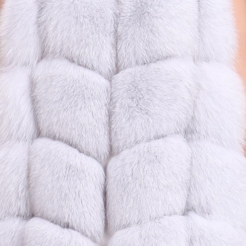 Ciel Fourrure Importé kaki marron Hiver ivoire bleu Leathervest Ardoisé rouge Nouveau pu Manteau 2019 Long rose Pleine En Gilet Renard De Cuir rwqr1