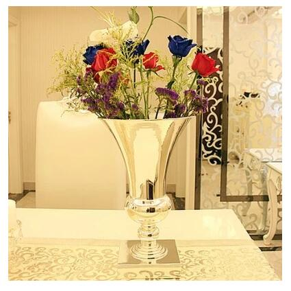 large diamete tabletop metal vase Decorative Flowers tall vases for wedding metal flower vases silver wedding vases HP045