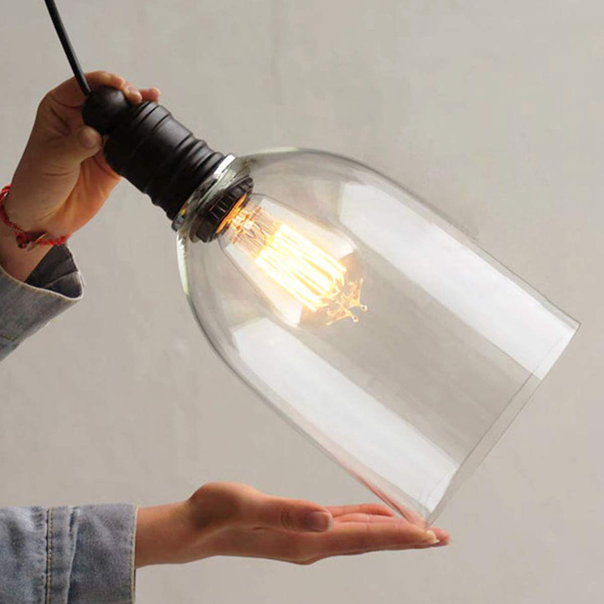 E27 Retro Vintage Chandelier Lamp Shade Industrial Lamp Cover Cord Coffee Bar Glass Cover Ceiling Pendant Light Base
