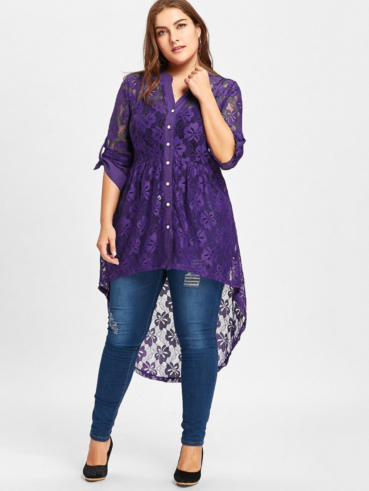 92fbf9d699 Compre ZAFUL Mulheres Primavera Plus Size Blusa De Renda Das ...