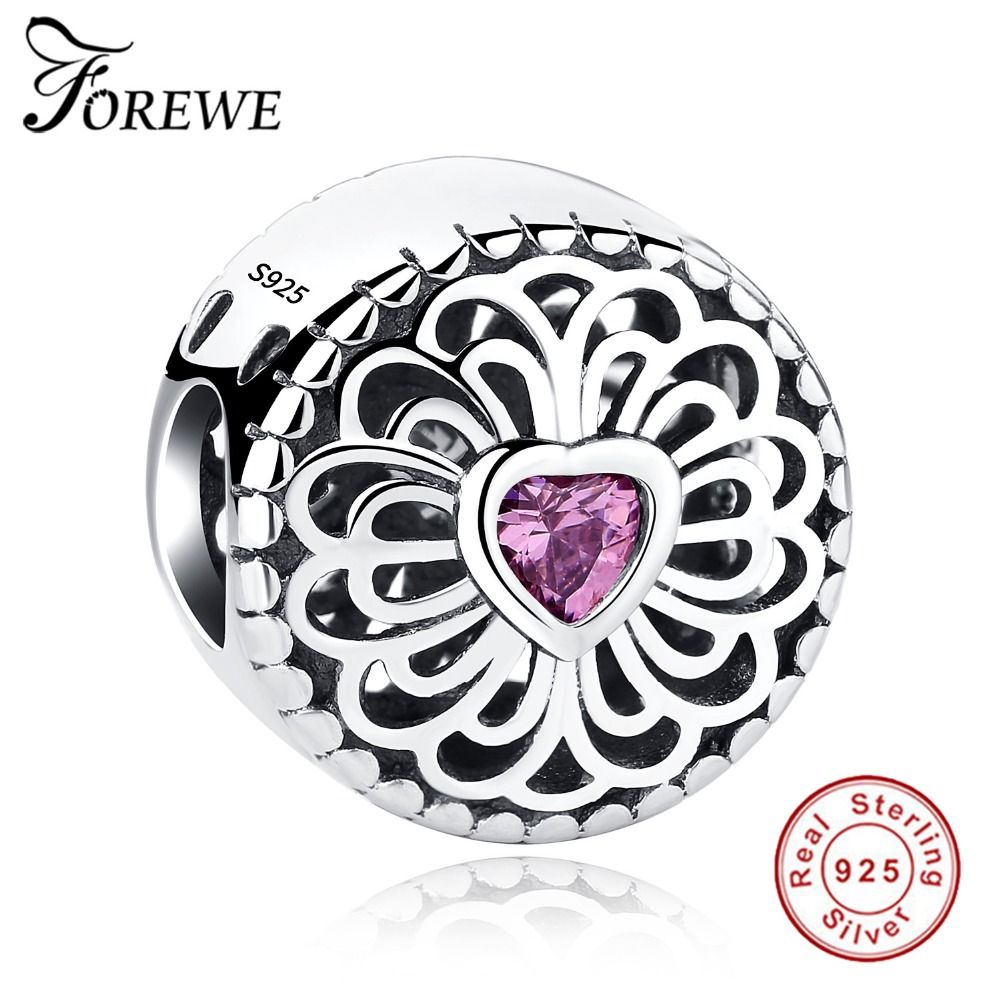 FOREWE Authentic 100% 925 Sterling Silver Love & Friendship, Pink Clear CZ Beads Fit Pandora Charms Bracelets Fashion Jewelry