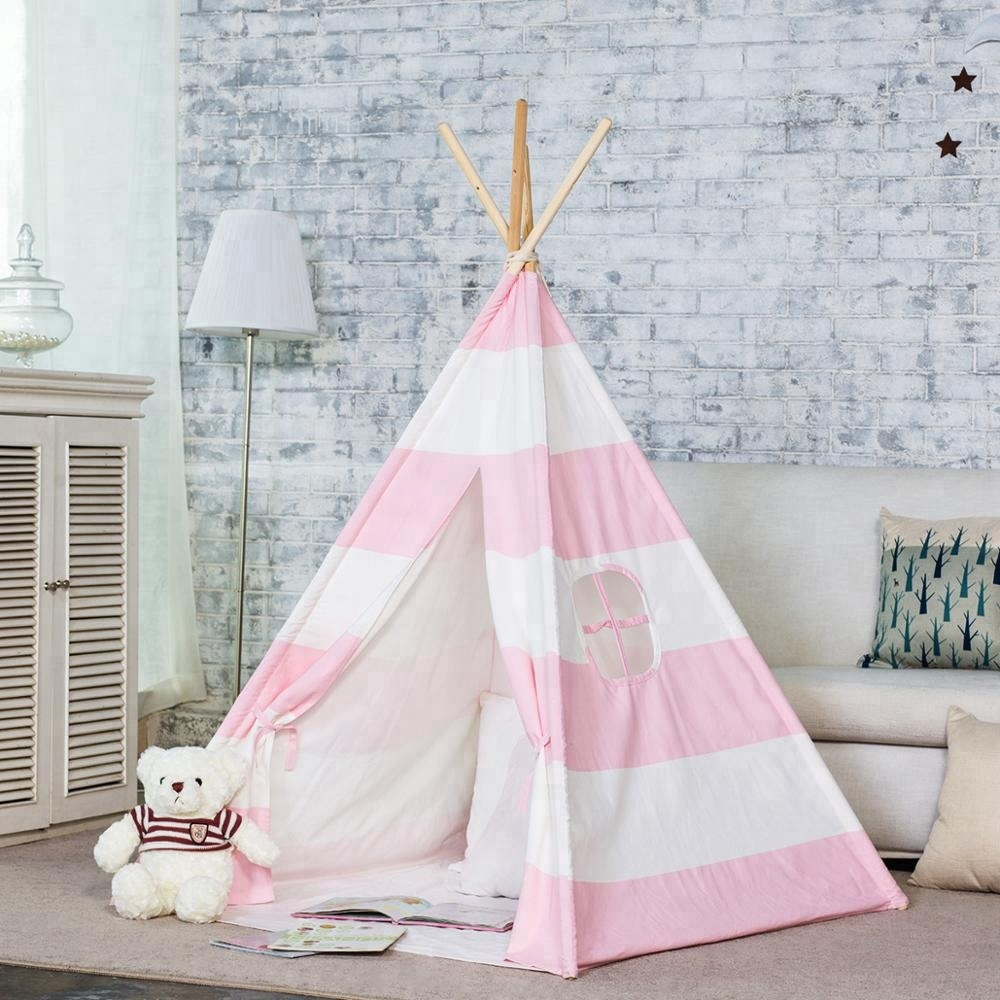 Pink Striped Teepee Kids Teepee Tent Kids Tent Playhouse Wigwam Tee Pee curved hem striped tee dress