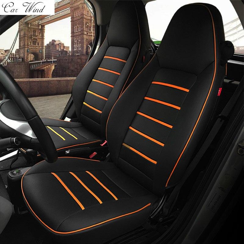car wind pu leather car seat covers for Mercedes-Benz Smart fortwo 2010~2017 Smart forfour seat covers for car car accessories