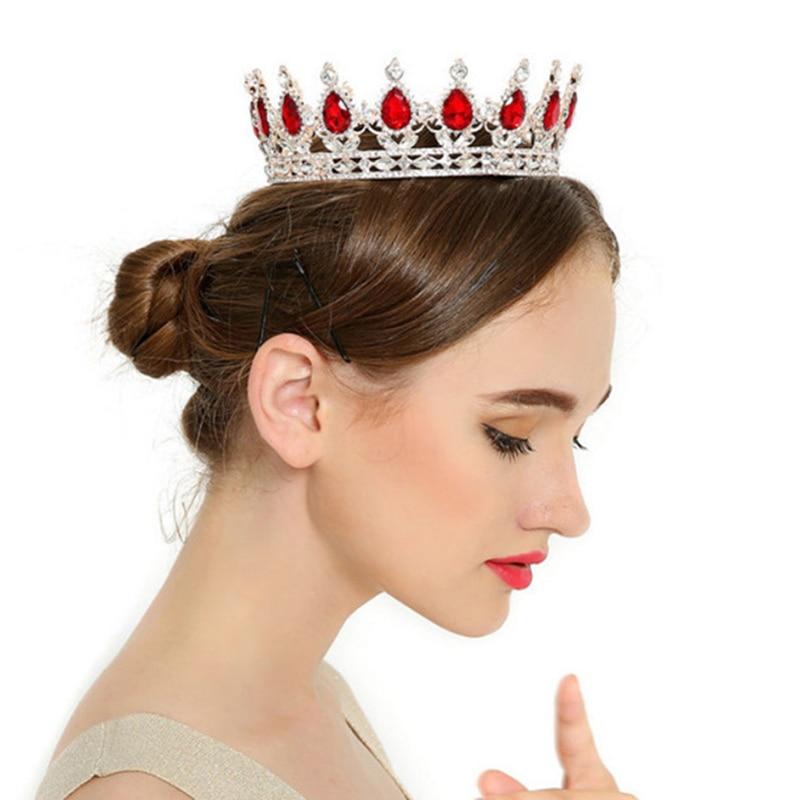 Baroque Red Blue Gig Water Drop Crystal Crown Tiara Full Round Gold Crown Bridal Hair Accessories Jewelry Wedding Diademe Boda