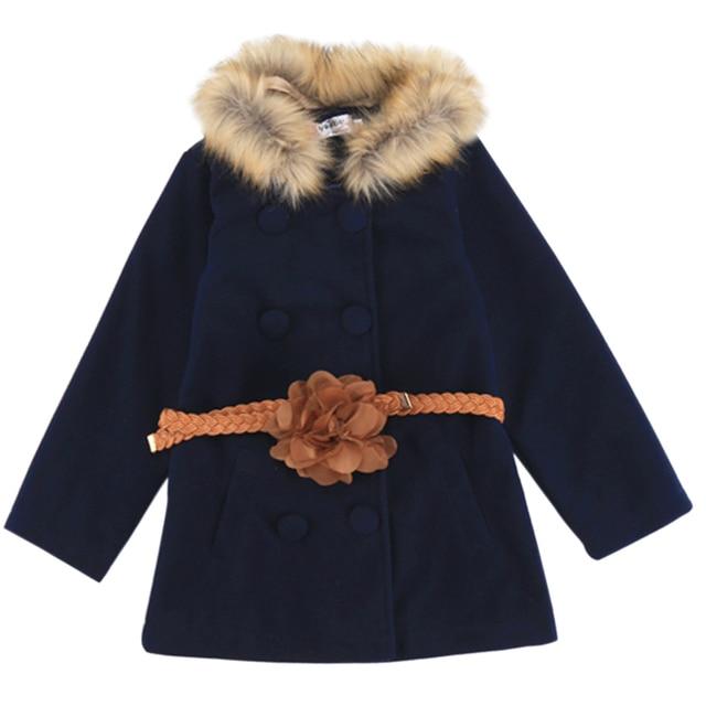 New Arrival Winter Girls Fashion Woolen Coat Faux Fur Solid Kids Children Girls Cloak Coat With Belt For 6-7 Years