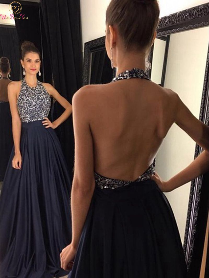 Navy Blue Prom Dresses 2019 New A Line Sleeveless Halter Neck Floor Length Long Crystal Sexy Backless Satin Formal Evening Gowns
