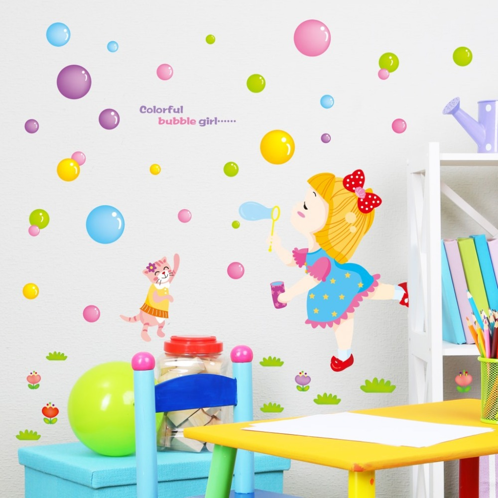 online buy wholesale children 39 s removable wall decals from cute colorful bubble girl wall decal decorate children s room removable wall stickers china mainland