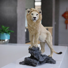 Fashion Simulation Lion Model Handicraft Living Room Home Tabletop Furniture Collection Figurines Miniatures Decoration Crafts(China)