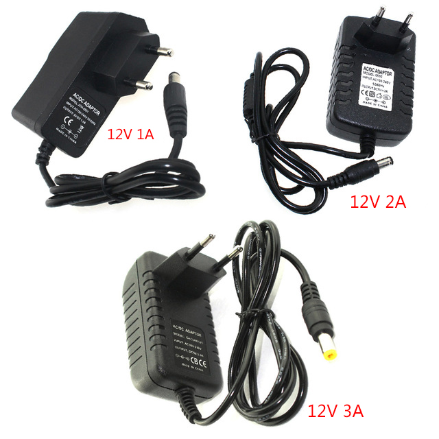 Power Adapter 12V 1A 2A 3A Adaptor Adjustable Lithium Battery Charger Supply EU Plug US Plug For Led Strip Switch 110 - 220V DC