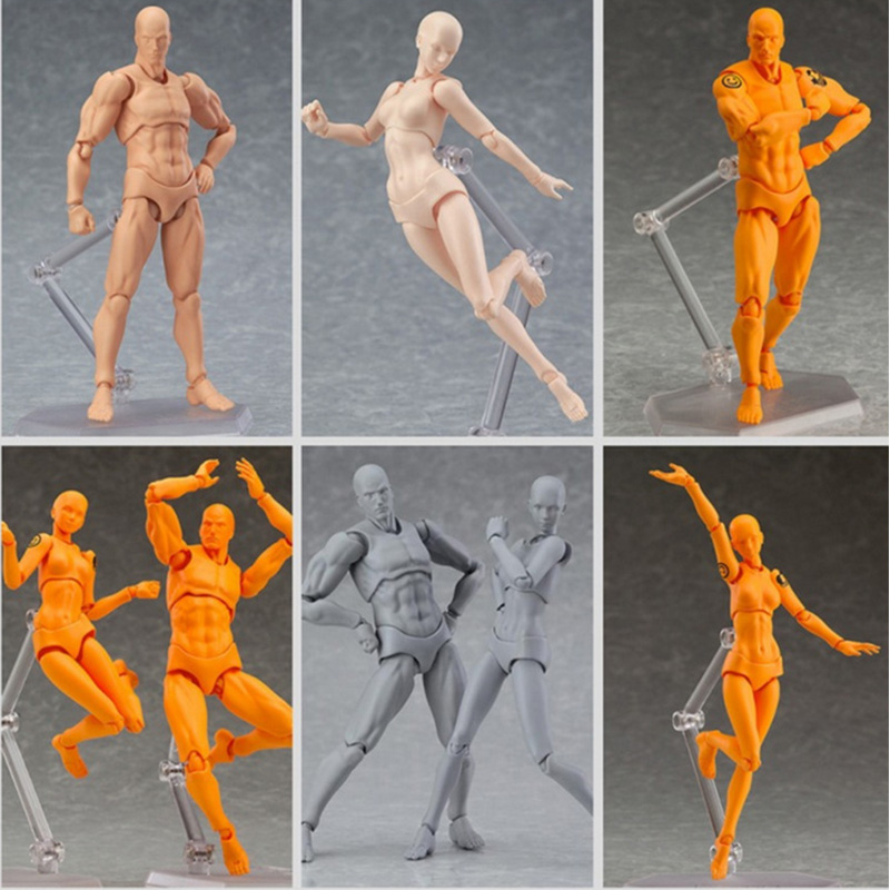 13cm Action Figure Toys Artist Sketch Draw Male Female Movable body PVC body figures Model Mannequin Art Sketch Draw figurine image