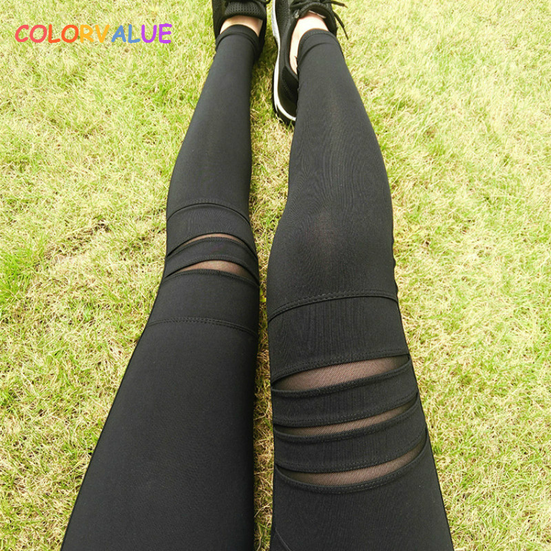 Colorvalue Sexy Patchwork Yoga Leggings Women High Waist Mesh Fitness Leggings Quick Dry Sport Running Tights Athletic Leggings