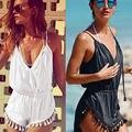 Forma Regular Moda Casual Com Decote Em V Borla Sexy Verão Macacão Mulheres Macacão para as Mulheres Preto/Branco Curto Playsuit 2 cores