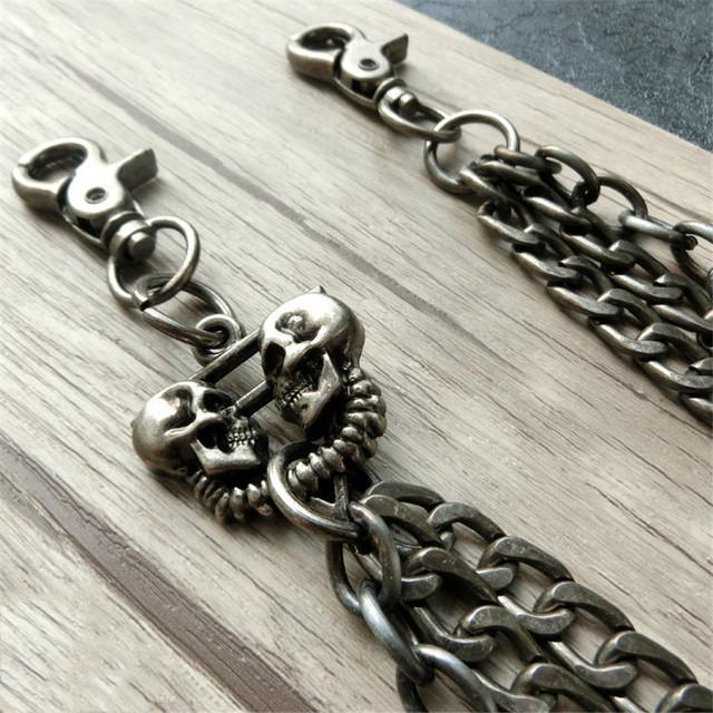Double skulls biker wallet chain