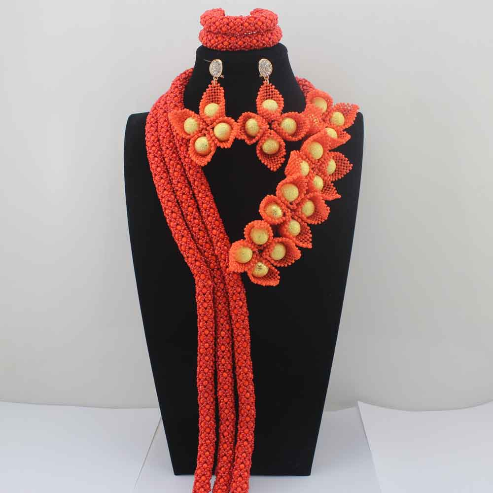 Fashion New Coral Orange Flower African Costume Jewelry Sets Nigerian Wedding Beads Bridal Necklaces Earrings Free Ship HD8590Fashion New Coral Orange Flower African Costume Jewelry Sets Nigerian Wedding Beads Bridal Necklaces Earrings Free Ship HD8590