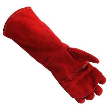 Cowhide welding gloves autumn and winter lengthening thickening labor protection bite anti-hot insulation fire-resistant outdoor research silencer fire resistant gloves