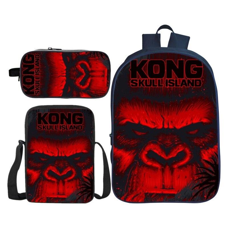 3 pièces/ensemble impression 3D Animal grand gorille enfants bébé sacs d'école pour garçons King Kong sac à dos à bandoulière enfant cartable filles