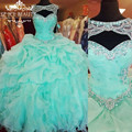 Cheap Quinceanera Vestidos Cristais Beading Plus Size vestido de Baile vestido de 2017 sweet 16 babados vestido de céu azul corset vestidos de 15 Anos