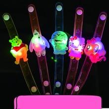 20pcs/lot Soft jelly flower cartoon led bracelet toy flashing light wrist strap band for festival party supplies glow kids toys