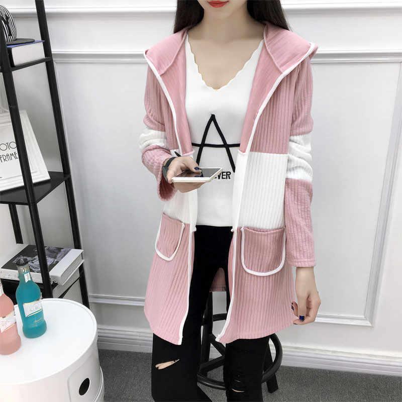 Neploe Long Hooded Coat 2018 Autumn Winter Long Sleeve Coats Contrast Color Outerwear Fashion Woman Wind Coat Cardigan 33938 1