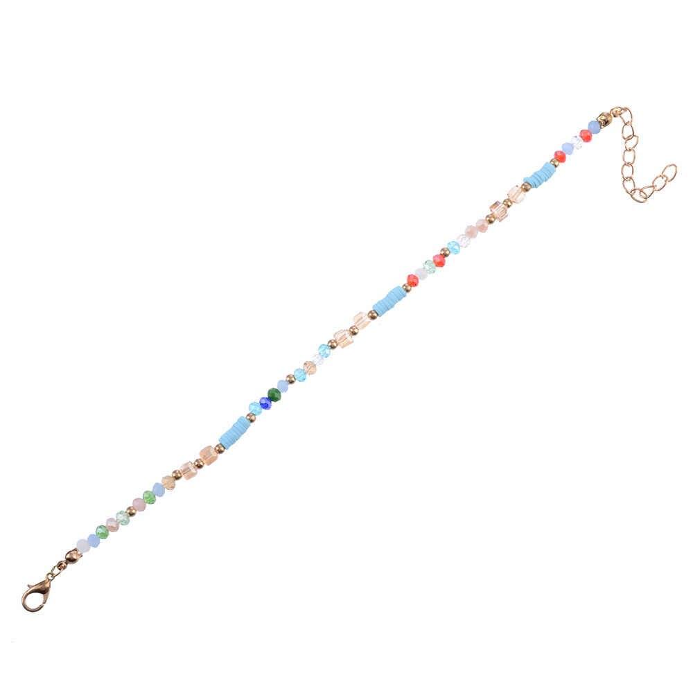 Ручной работы минималистичные Простые разноцветные бусины цвета радуги женские браслеты для щиколотки богемные Йога золотого цвета босиком цепи ссылка вечерние ювелирные изделия