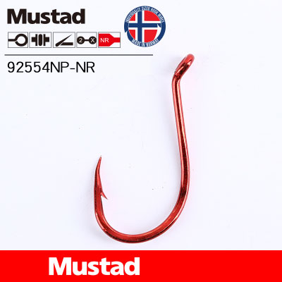 5Packs Mustad Fishing Hooks 92554NP-NR Olecranon Red Barbed Fishhook Lures Holder Sea Tackle Single Hook Pesca