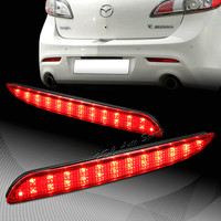 2010 2013 For Mazda 3 Red Lens Red LED Rear Bumper Reflector Brake Light Lamps