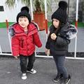 Niños Chaqueta de Invierno Cuello de Piel de los Bebés Abrigo de Invierno Con Capucha algodón Abajo Cabritos de la Capa Niños Abrigos Y Chaquetas para Niños SYHB122901