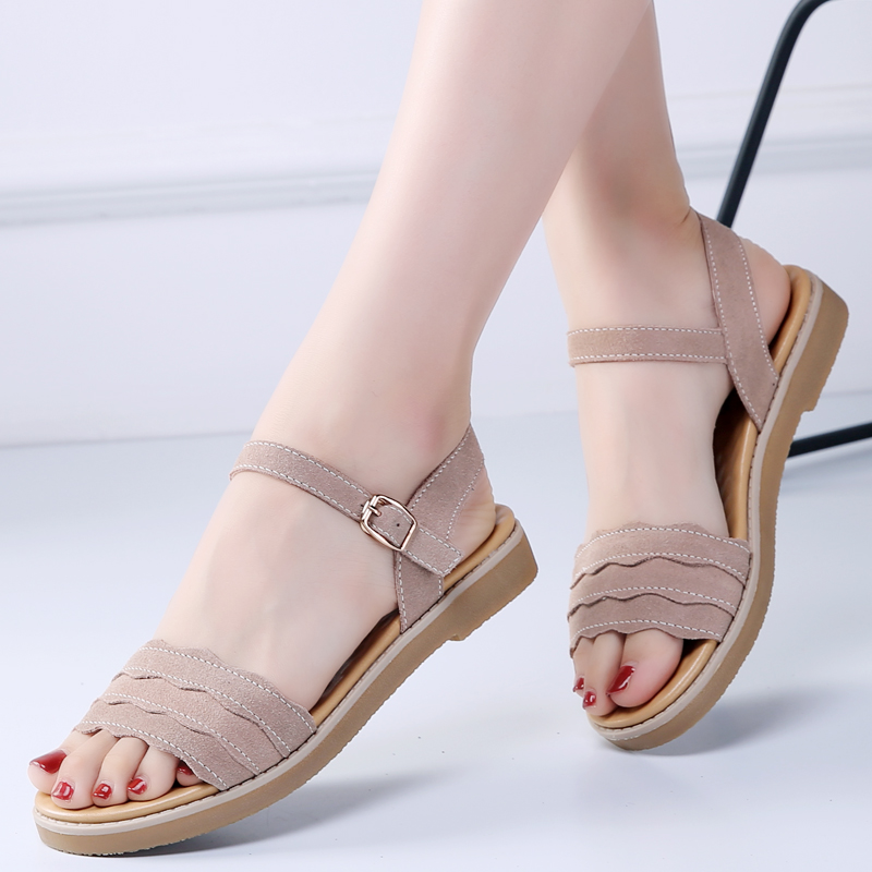 2019 Nouvelles Filles Chaussures D'été femme sandales à plateforme Femmes Doux décontracté En Cuir À Bout Ouvert Appartements